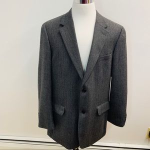 Macy's Sport Jacket L 44 Gray Black Wool m2